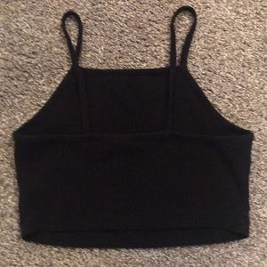 Aeropostale Black Ribbed Crop S